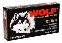 Wolf Performance Ammo 22355 .223 Rem 55GR FMJ 500Rd Case