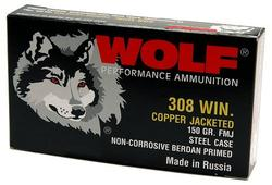 Wolf 308FMJ Polyformance 308 Winchester (7.62 NATO) Full Metal Jacket 150 GR 500