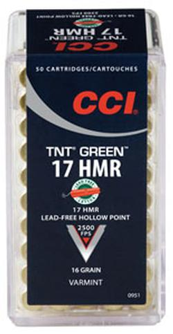 CCI TNT Green .17HMR 16GR HP 50rds