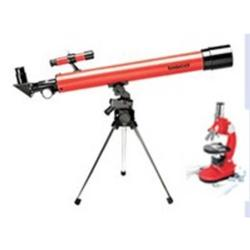 TASCO 50X50 RED REFRACTOR W/900X MICROSCOPE