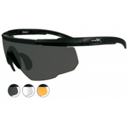 Wiley X Saber Advanced Sunglasses - 3 Lens Package, 1 Matte Black Frame w/Smoke Grey,Clear,Light Rust Lens, 308