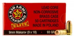 Red Army Standard Elite 9X18mm Makarov Handgun Ammunition Per 50