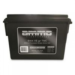 AMMO INCORPORATED, 9mm, Total Metal, 115 Grain, Processed Brass, 200 Rounds with Ammo Can
