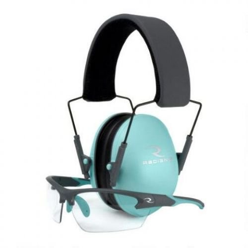 Radians Lowset Earmuff and Shooting Glasses Combo (NRR 21 db) Aqua/Charcoal LS0820CKCS