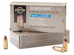 PPU Subsonic Handgun Ammunition 9mm Luger FMJ 158 gr 950 fps 50/ct