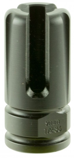 Advanced Armament Corp BLACKOUT Flash Hider Non-Suppressor Mount 9mm Luger 1/2 x 36 Thread Steel Matte Black