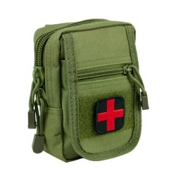 NCSTAR COMPACT TRAUMA KIT 1 OD GREEN  MOLLE W/ RED CROSS PATCH