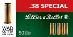 Sellier & Bellot SB38L Handgun 38 Special Lead Flat Nose 158 GR 50Box/20Case