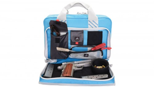 G. Outdoors Products Quad Pistol Range Bag w/Mag Storage/Dump Cups, Robin Egg Blue, GPS-1310PCRB