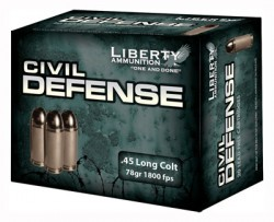 Liberty Ammunition Civil Defense 78 Grain Nickel Plated Brass .45 LC 20Rds