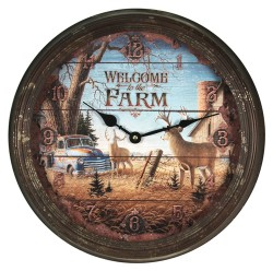 Rivers Edge Products Metal Clock, 15-inch Welcome Deer