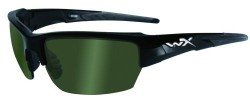 Wiley X WX Saint Sunglasses - Polarized Smoke Green Lens / Gloss Black Frame, CHSAI04