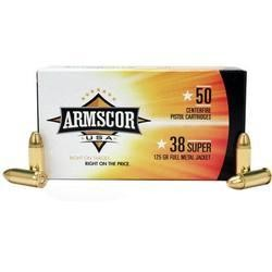 Armscor FMJ 124 grain Brass .38 Super 50Rds