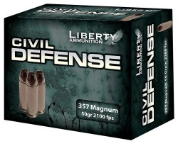 Liberty Ammunition Civil Defense HP 50 Grain Nickel Plated Brass .357 Mag 20Rds