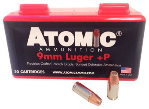 Atomic 9mm Luger  P Ammunition 124GR Hollow Point 50Rds