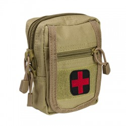 NCSTAR COMPACT TRAUMA KIT 1 TAN MOLLE W/ RED CROSS PATCH