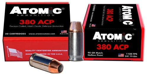 Atomic 00453 Defense 380 ACP 90 GR Bonded HP 20 Bx/ 10 Cs