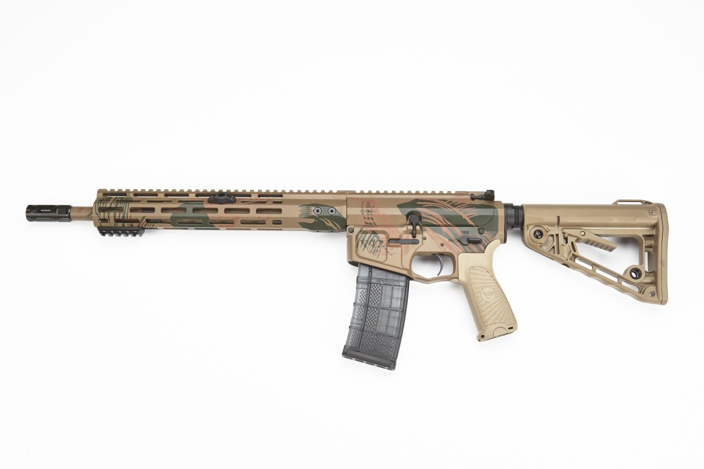 "Wilson Combat Recon Tactical Rifle, 5.56 NATO, 14.7"" Barrel, 1-7 Twist, Rhodesian Camo"