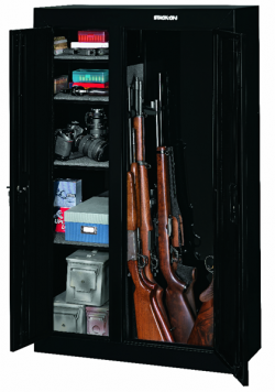 STACK ON 10 GUN DOUBLE DOOR SECURITY CABINET BLACK W/ STANDARD LOCK 32X13.5X55 DIM 117LBS