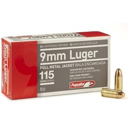 Aguila 9mm Luger 115gr. FMJ Brass 9mm 50Rds