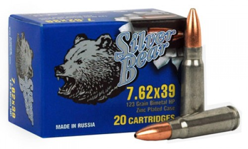 7.62X39 - 123 Grain HP - Silver Bear - 500 Rounds