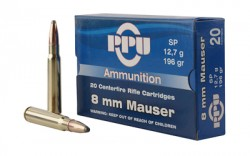 PPU, 8mm Mauser, SP, 196 Grain, 20 Rounds