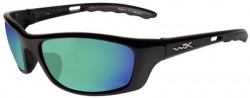 Wiley X P-17 Sunglasses - Polarized Emerald Mirror w/Amber Lens / Gloss Black Frame, P-17GM