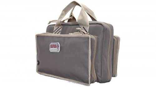 G. Outdoors Products Quad Pistol Range Bag w/Mag Storage/Dump Cups, Rifle Green/Khaki, GPS-1310PCRK