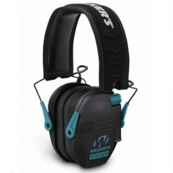Walkers Razor Series Slim Shooter Folding Electronic Ear Muff, Black/Teal, GWPRSEMTL
