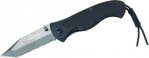 "Timberline Battlehog Linerlock with Black G-10 Handles and Vallotton Kickstart Assisted Opening Black Coated 9Cr13MoV Stainless Steel 3"" Tanto Partially Serrated Edge Blades Model 1161"