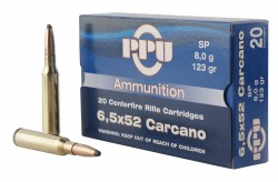 PPU Rifle Ammunition 6.5x52mm Carcano 123 gr SP 2690 fps - 20/ct
