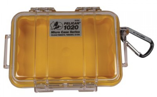 Pelican 1020 Micro Watertight Dry Box, 6.37x4.75x2.12in - Clear Yellow w/Carabiner