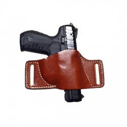 HUNTER HOLSTER LEATHER BELT SLIDE LARGE CHESTNUT TAN