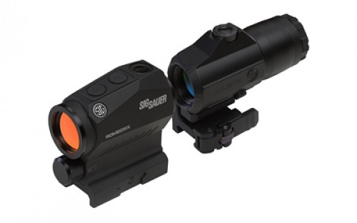 Sig Sauer Romeo5 Red Dot Sight, 2 MOA Red Dot, M1913, Black, Juliet3 3x Magnifier, Black, Medium, SORJ53101