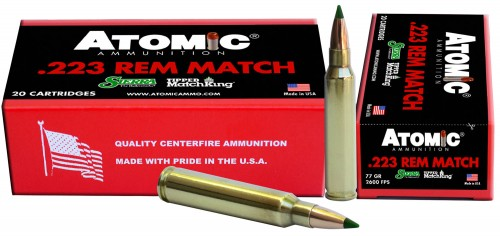 Atomic 00459 Match 223 Remington/5.56 NATO 77 GR Tipped MatchKing 20 Bx/ 12 Cs