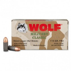 9mm - 115 gr FMJ - Wolf WPA MC - 50 Rounds