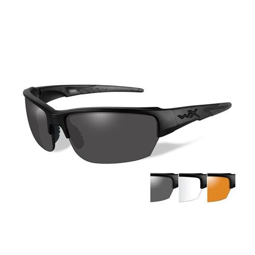 Wiley X WX Saint Sunglasses - 3 Lens Package, 1 Matte Black Frame w/Smoke Grey,Clear,Light Rust Lens, CHSAI06